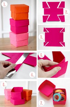 tutorial simple origami box, how to make a box of storage, for your roulea . - tutorial simple origami box, how to make a box of storage, for your roulea . Felt Diy, Felt Crafts, Diy And Crafts, Crafts For Kids, Paper Crafts, Diy Gift Box, Diy Box, Diy Gifts, Easy Gifts To Make