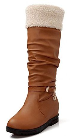 IDIFU Womens Fashion Slouch Faux Fur Lined Wedge Heighten Mid Calf Snow Boots Medium Heels Brown 7 BM US ** Be sure to check out this awesome product.