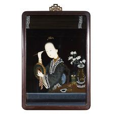 Chinese Antique Portrait Reverse Painting on Glass- girl doing make up 15XB08