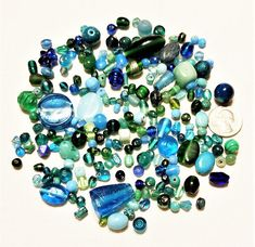 BF-253, $4.75, A Variety of Glass and Porcelain Turquoise Blue and