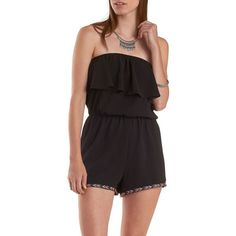 Charlotte Russe Black Chevron-Trim Flounced Strapless Romper by... ($25) ❤ liked on Polyvore