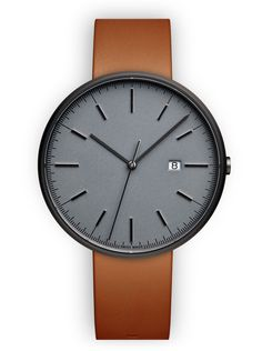 PVD grey  / Tan nappa leather  SGR-01 40mm 3-hand date. PVD grey case, cool grey dial, polished indexing, scratch-resistant sapphire crystal with anti-reflective (AR) coating underside, 5ATM water resistance. Swiss made