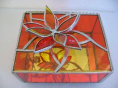 card box? in different color and with mirror on bottom?    Stained glass box with flower on top by LookingGlassArizona, $26.00