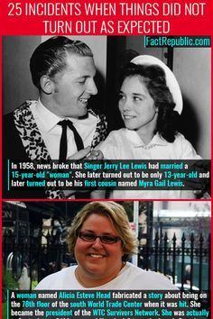 "In news broke that Singer Jerry Lee Lewis had married a ""woman"". She later turned out to be only and later turned out to be his first cousin named Myra Gail Lewis. Fun Movie Facts, Titanic Movie Facts, Wtf Fun Facts Funny, Wierd Facts, Hp Facts, Funny Memes, Random Facts, Memes Humor, Creepy History"