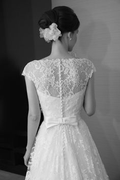 lace dress with bow in the back