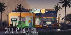 Houses and Lots: Skate, rattle and roll nightclub from Picture Amoebae My Sims, Sims Cc, Sims 4 Restaurant, Decorative Radiators, The Sims 4 Lots, Roller Rink, Colorful Apartment, Dj Booth, Sims 4 Build