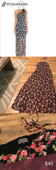 Lucca Couture Floral Halter Maxi Dress with Slits Perfect dress for any summer event - floor length with floral pattern over black with slits up both legs Lucca Couture Dresses Maxi