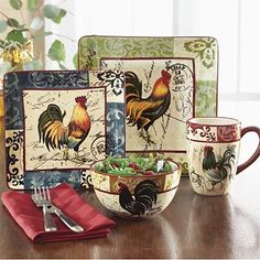 Rooster Square Dinnerware From Orvis Home