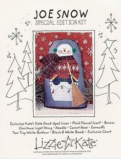 Joe Snow Kit from Lizzie Kate Counted Cross Stitch Designs Counted Cross Stitch Patterns, Cross Stitch Designs, Lizzie Kate, White Beads, Snowmen, Cross Stitching, Needlework, Embellishments, Wreaths