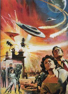 Retro futurism back to the future tomorrow tomorrowland space planet age sci-fi pulp flying train airship steampunk dieselpunk alien aliens martian martians BEMs BEM& - Art Science Fiction, Fiction Movies, Sci Fi Movies, Fiction Books, Arte Sci Fi, Sci Fi Art, Art Marron, Retro Robot, Classic Sci Fi