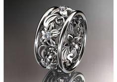 platinum diamond leaf and vine wedding ring,engagement ring,wedding band.ADLR150. nature inspired jewelry - TheWeddingMile.com