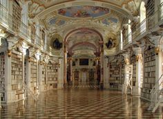 Admont Abbey Library, Admont Benedictine Monastery, Austria. Since its foundation in 1074, i.e. since almost one thousand years, Admont Benedictine Monastery has collected and preserved cultural goods. In this respect the library has a special position.This library is one of the most important cultural properties of Austria and is one of the largest late Baroque works of art in Europe.