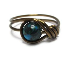 Gemstone Ring   Green Jewelry   Custom Size Wire by DistortedEarth, $10.00