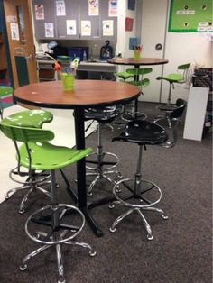 """""""Coffee shop"""" classroom - couch, standing tables, stools, cushions, floor...."""
