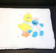 Vintage RIEGEL White Baby Blanket Big Bird Grover Hearts Fleece w/Satin Trim HTF #Riegel