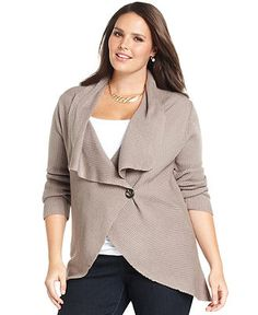 Design 365 Plus Size Sweater, Long-Sleeve Ribbed Cardigan - Plus Size Sweaters - Plus Sizes - Macy's