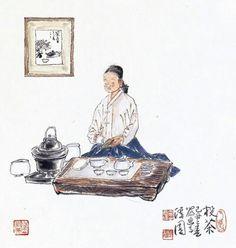 "Korean Artist ""damwon Kim-Chang bae大韓民國 潭園金昌培 畵家 "" Zen Art 차 마시기ᆞ Tea time (60×55cm)2010年作"