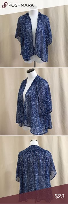✨40% Off - SO Fly Away Cardigan - NWOT ✨40% Off - Make an offer for 40% off this item! Valid until 11/27. SO Fly Away Cardigan. Blue with flower pattern (as seen close-up in 4th photo). Short sleeve. Never worn without tag. 100% Polyester. SO Tops
