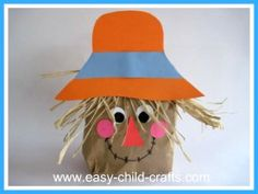 Easy Paperbag Scarecrow for preschoolers