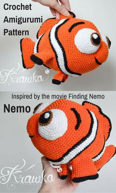 Who wouldn't fall in love with this adorable crocheted Amigurumi Nemo Clown Fish doll inspired by the movie Finding Nemo? It's an instant digital download so you can print it off and start gathering your supplies to make your Nemo right away! #amigurumi #crochet #crochetdoll #ad #amigurumitoy #nemo #clownfish #findingnemo #disney #instantdownload