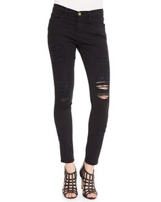 Le Color Rip Skinny Jeans, Film Noir by Frame Denim at Neiman Marcus.
