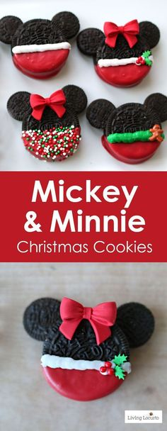 Adorable Mickey and Minnie Mouse Christmas Cookies made with OREO cookies. Adorable Mickey and Minnie Mouse Christmas Cookies made with OREO cookies. Easy no-bake Disney Christmas Cookies for a Holiday party, gifts or cookie exchange. Disney Desserts, Holiday Desserts, Holiday Cookies, Holiday Baking, Holiday Treats, Holiday Recipes, Disney Recipes, Christmas Treats For Gifts, Christmas Recipes