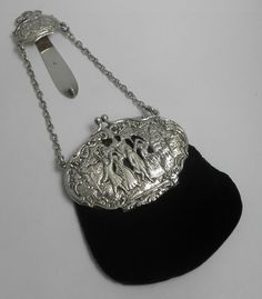 310ae66152b Suprb rare english antique victorian 1901 solid sterling silver chatelaine  purse