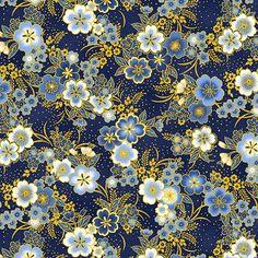Japanese Paper, Japanese Fabric, Molduras Vintage, Oriental Flowers, Gold Wallpaper, Japanese Patterns, Robert Kaufman, Navy Gold, Japan Art