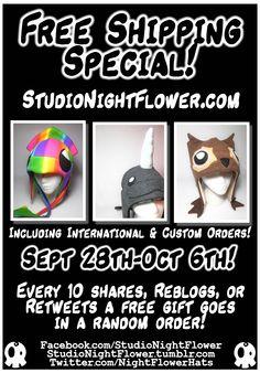 StudioNightFlower.com Repins count toward the random free gifts too!!