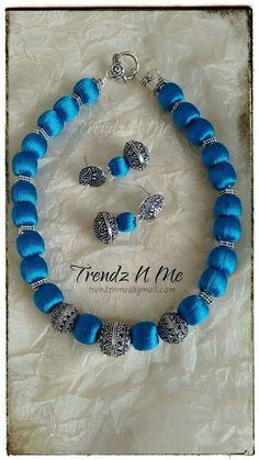 Beads made with silk thread Silk Thread Necklace, Beaded Necklace Patterns, Silk Thread Bangles, Jewelry Patterns, Diy Jewellery Chain, Thread Jewellery, Jewelry Making, Jewelry Model, Jewelry Art