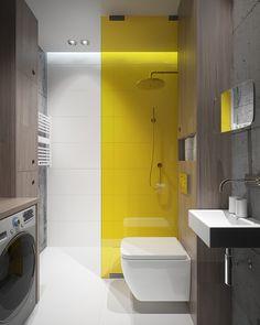 We create interior design, architecture and product design. Bathroom Design Small, Bathroom Interior Design, Wc Design, House Design, Bathroom Decor Pictures, Spa Treatment Room, Bathroom Design Inspiration, Yellow Interior, Yellow Bathrooms