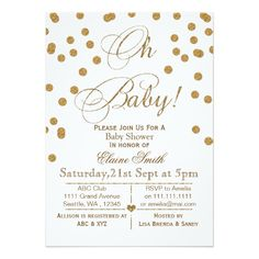 LOVE THESE!!! Glitter white and gold baby shower invitation