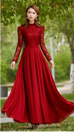 Charming Long Lace Sleeves Pleated Chiffon Long Red Maxi Dress #chiffondress #lacedress #reddress