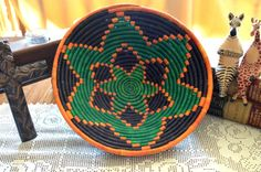 Green & Orange Flower on Navy Ugandan Basket by WovenHeartsofHope