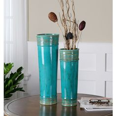 Uttermost Thane Teal Green Ceramic Vases ($187) ❤ liked on Polyvore featuring home, home decor, vases, green, green home decor, green vase, teal vase, colored vases and teal ceramic vase