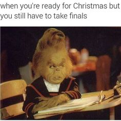 The Grinch is such a cutie. I felt the exact same way during finals week before Winter break. Grinch Baby, Funny Posts, Funny Shit, The Funny, Funny Stuff, Funny Things, Random Stuff, Relatable Posts, Vestidos