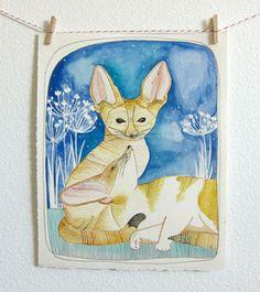 Michele Maule Originals. Fennec Fox Original Watercolor Painting. $125.