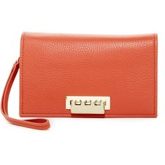 ZAC Zac Posen Eartha Relaxed Leather Wristlet ($170) ❤ liked on Polyvore featuring bags, handbags, clutches, coral, wristlet clutches, leather clutches, leather wristlet purse, leather purses and wristlet purse