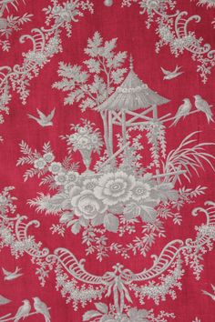 Antique Rococo French Red Printed Fabric 1870 Grey Toile Chinoiserie Grey Gray | eBay