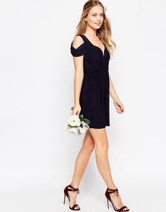 ASOS+WEDDING+Drape+Cold+Shoulder+Mini+Dress