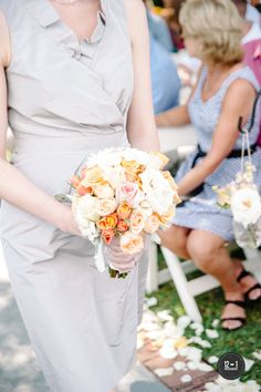 Peach and White Bouquet of Roses and Spray Roses by Andrea Layne Floral Design (www.andrealaynefloraldesign.com)