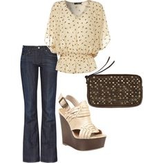 Cream Flowy Top, created by styleofe.polyvore.com