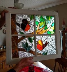 handmade stained glass window measures 20 1/2 high by 22 1/2 wide. $ 60. available in long sault #StainedGlassPanels