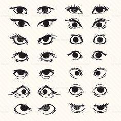Describe conjunto de dibujos animados de los ojos illustracion libre de derechos libre de derechos