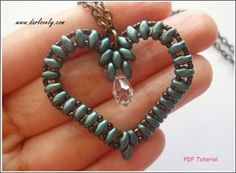 Beaded Pendant Tutorial Pattern - Superduo Heart Pendant/ Charm (PD008)…