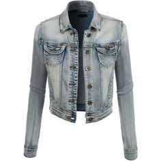 LE3NO Womens Classic Cropped Denim Jean Jacket ($38) ❤ liked on Polyvore featuring outerwear, jackets, tops, coats, maxi jacket, pocket jacket, cropped jacket and summer jacket