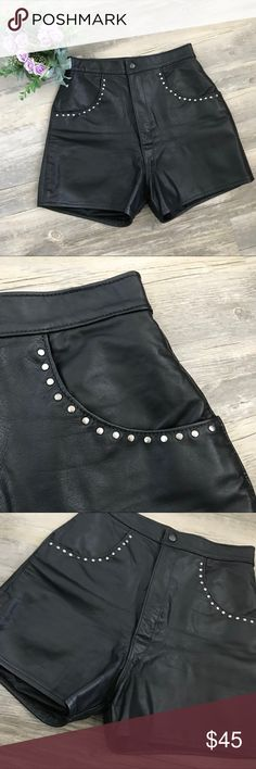 """Leather Hi-Waisted Studded Shorts Leather Biker Hi-Waisted Studded Shorts I love these shorts! I wish they fit me 😔 In perfect condition  Is a hi-waisted Is a snap button with zipper  Has a key hole in the back. Is a size 28 Measurements are an estimate and may not be perfect Laying flat- Waist 12 1/4"""" Hip 17 1/2"""" Rise 13 5/16"""" Vintage Shorts"""
