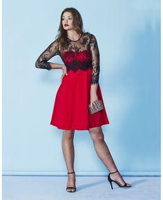 """AX Paris"" AX Paris Long Sleeve Red Skater Dress at Simply Be"