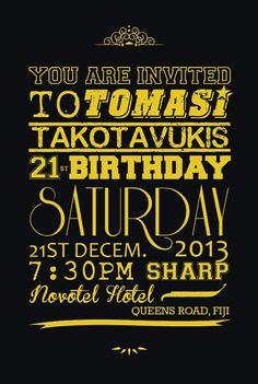 21st invitation. By Milika Mocevakaca