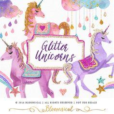 Unicornios de brillo Clip Art Unicornio de Glam por Bloomsical